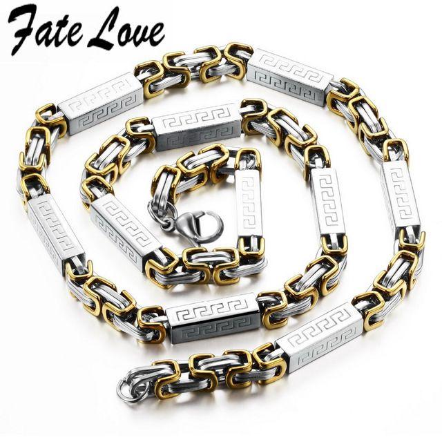 Свободного покроя мужчины ожерелья серебро нержавеющая сталь длинные цепи ожерелья мужчин 6 мм шириной 21.65 дюймов Высокое качество 329