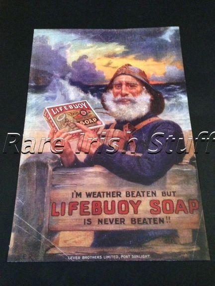 Lifebuoy Soap - 1905 Old Irish Fisherman & Sea - Shop Advert Ireland Print