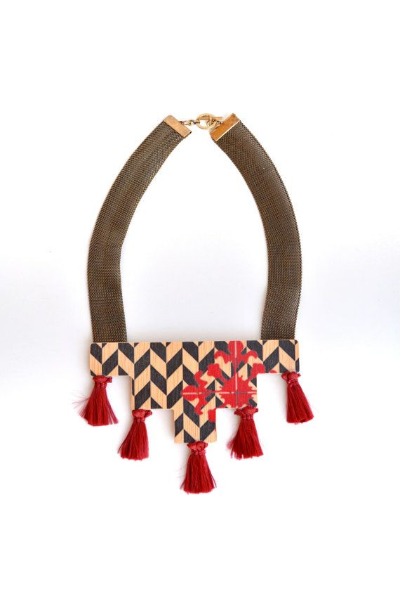 Geometric pyramid printed wood red tassels by PROPSfashion on Etsy