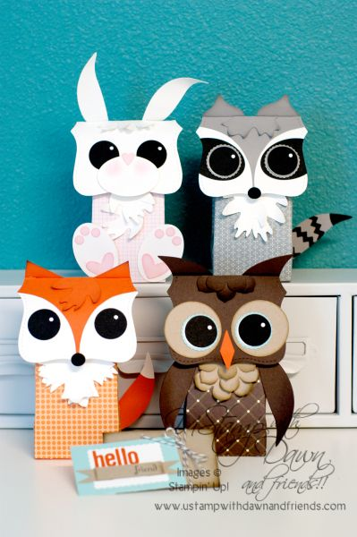 with all SU punches.  so cute.Gift Bags, Forest Friends, Blue Room, Stampin Up, 3D Paper Crafts, Punch Art, Gumball Machine, Note Die, Tops Note