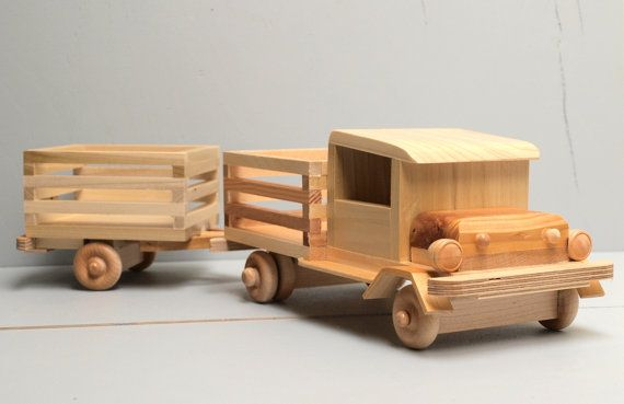 Wooden Toy Trucks For 3 Year Old : Reclaimed wood quot very tuff farm truck and trailer eco