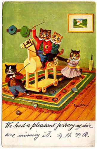 Full Title: Postcard Dressed Kittens Cats Playing on a Hobby Horse, Louis Wain Artwork Postcard Dressed Kittens Cats Playing on a Hobby Horse, Louis Wain Artwork A vintage postcard of Dressed Kittens Cats Playing on a Hobby Horse, Louis Wain Artwork. Size: 3.5 inches x 5.5 inches Condition: Good-Fair, some corner wear, Used.