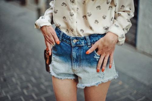 Denim ombre shorts