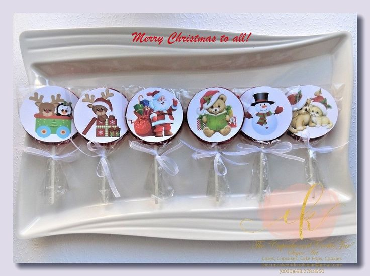 Homemade lollipops. A perfect little sweet treat for the children with a Christmas theme.