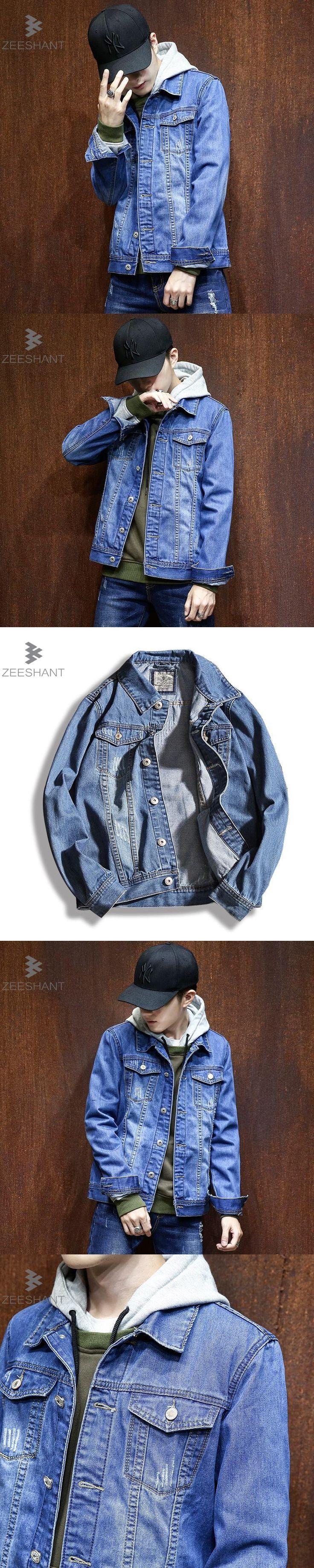 ZEESHANT Solid Casual Slim Mens Denim Jacket Plus Size M-4XL 5XL Bomber Jacket Men Cowboy Men's Jean Jacket Chaqueta Hombre