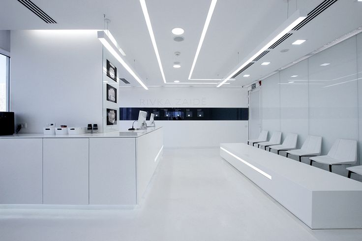 For the future I always think of a stark white look. This is a cool tron-like Laboratory Design