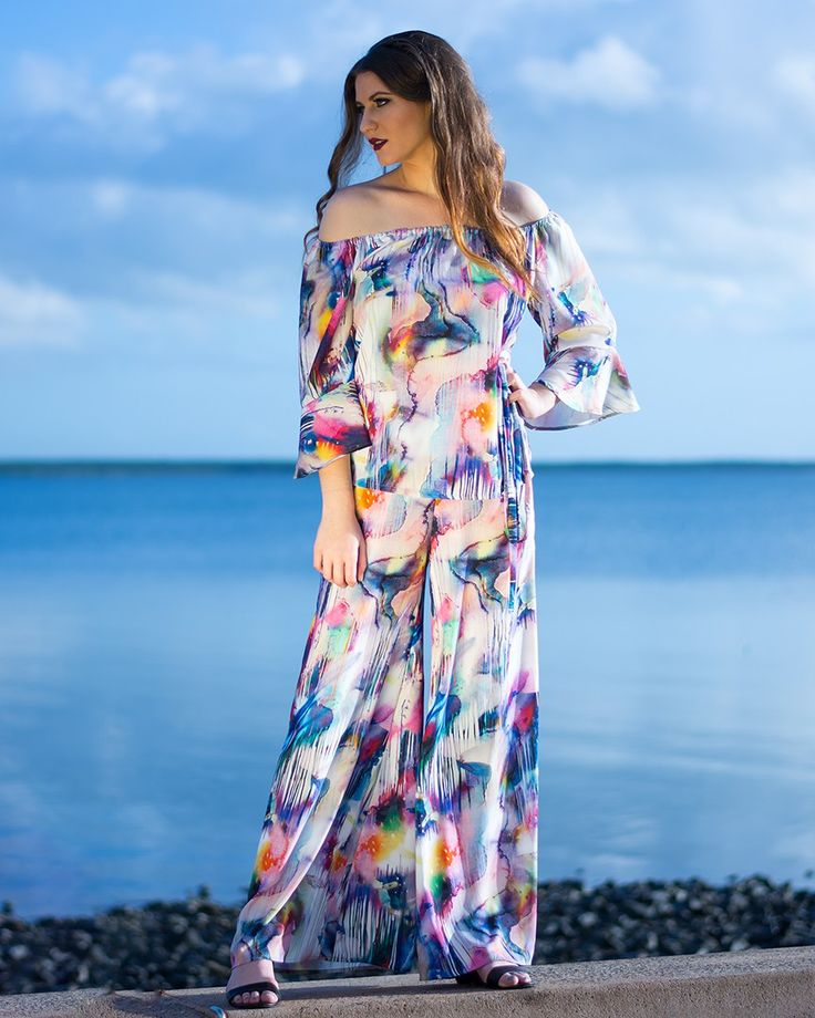 Free Spirit Top with Flared Sleeves in Colour Pools
