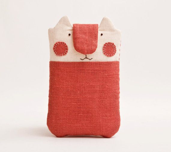iPhone pouch. iPhone sleeve. Mobile phone pouch. Fabric iPhone case. Cat
