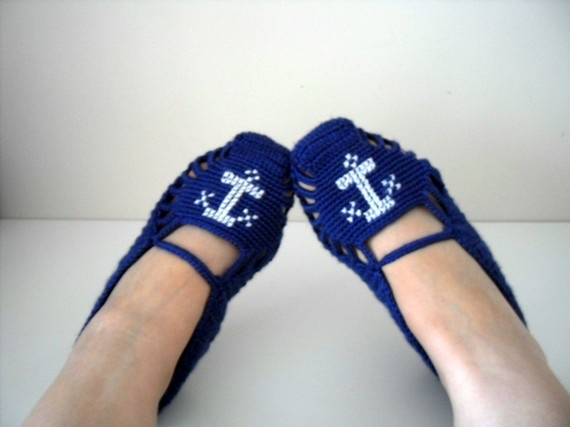 Sailor Home Slippers Anchor Sea  Navy Blue And by SmilingKnitting, $25.00