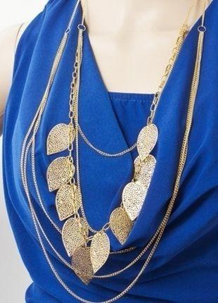 Kupuj mé předměty na #vinted http://www.vinted.cz/doplnky/nahrdelniky-koralky-a-privesky/9400087-zlaty-vrstveny-nahrdelnik-retizek-korale-s-listy