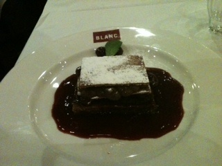Chocolate mille feuille at Brasserie Blanc.