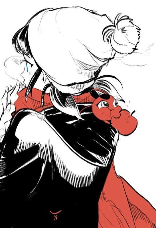 Fan art of Marinette Dupain-Cheng and her kwami, Tikki from the French animated series Miraculous: Tales of Ladybug & Chat Noir | Credit goes to its original owner