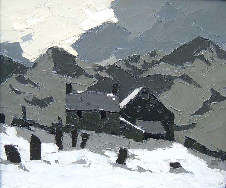 Kyffin Williams.  'Above Deiniolen'  oil on canvas.