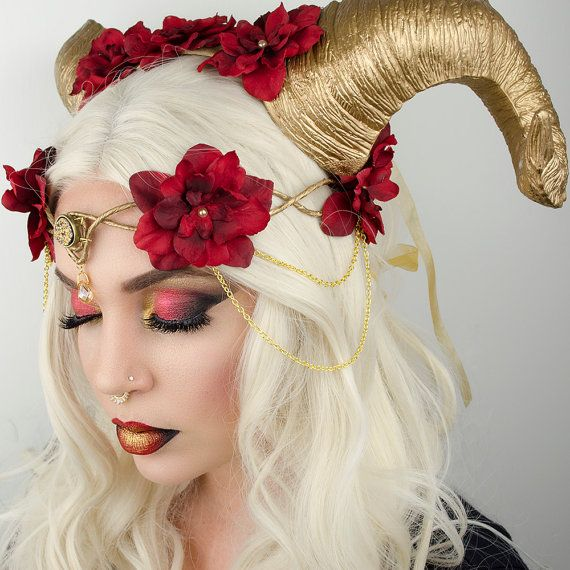 ***Horns in photo sold separately*** Gold elven crown with red flowers and gold chains. Ties in the back with gold organza ribbon for an