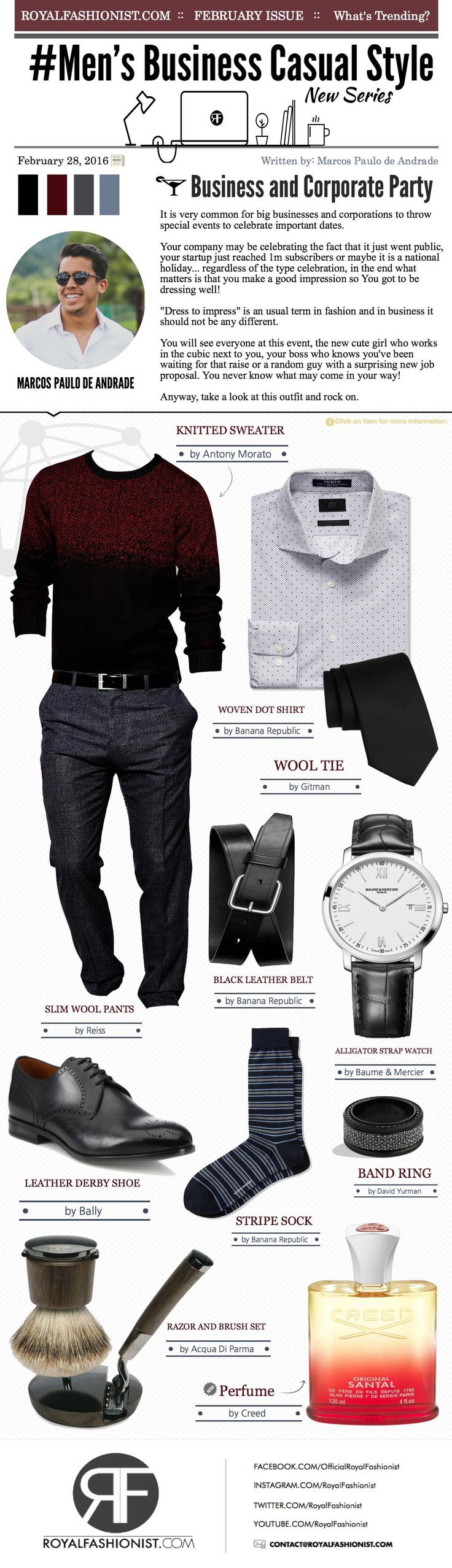 Men's Business Casual Style: Corporate Party Outfit   Royal Fashionist