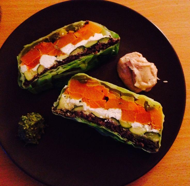 Rainbow Veg Terrine (Recipe: Happy Pear) with Tahini Mayo and Happy Pear pesto #supereasy #yum