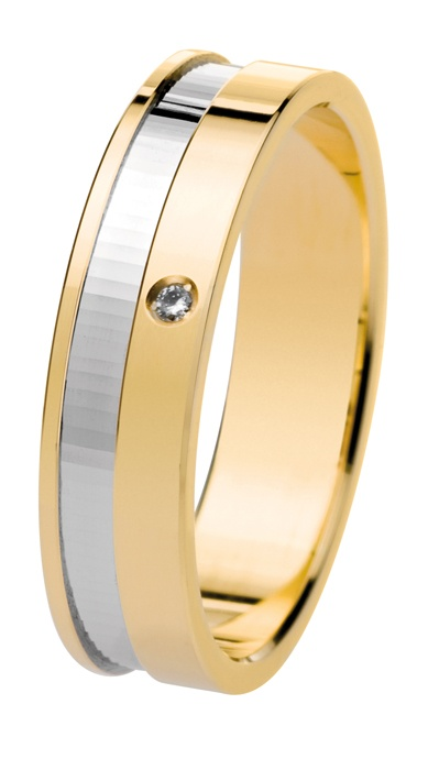 Oro amarillo y oro blanco de 18 quilates. Diamante natural talla brillante.