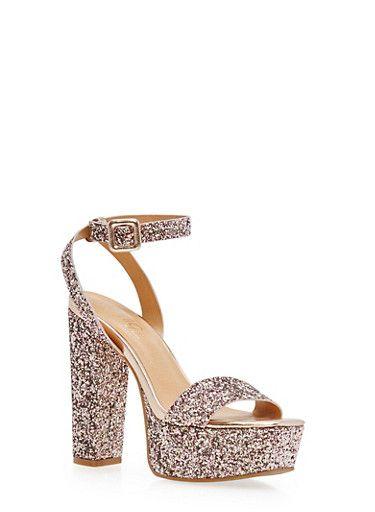 Ankle Strap Glitter High Heel Platform Sandals,BLUSH GLITTER