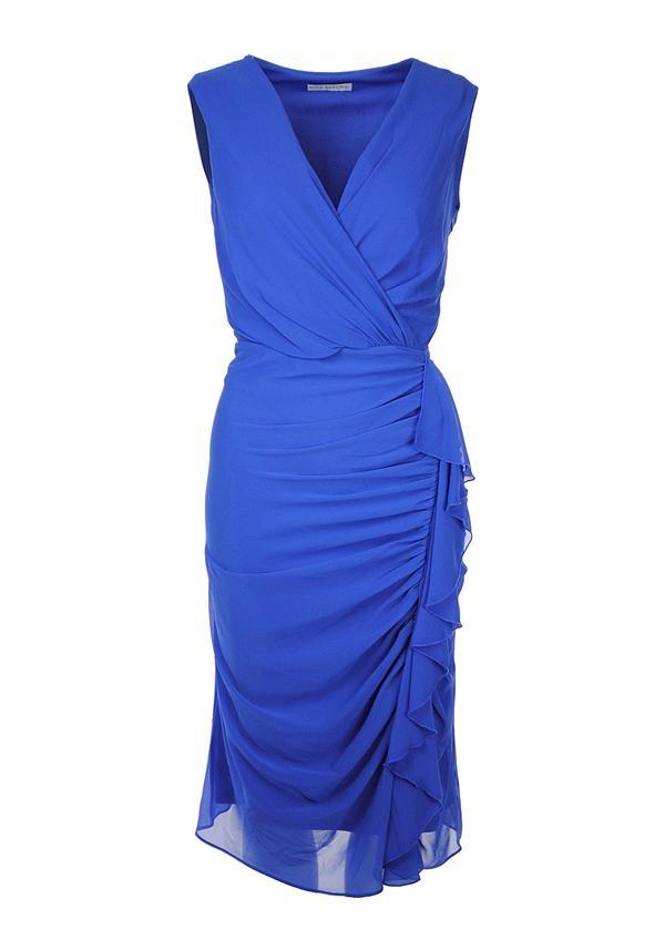 Gina Bacconi Gathered Chiffon Dress, Blue