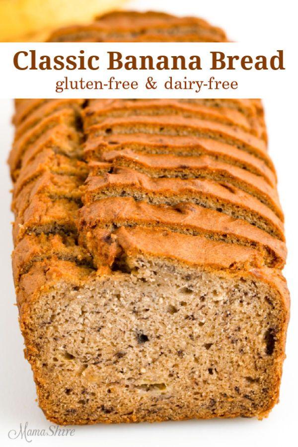 Moist Gluten Free Banana Bread Recipe Dairy Free Mamashire Recipe In 2020 Gluten Free Banana Bread Gluten Free Banana Dairy Free