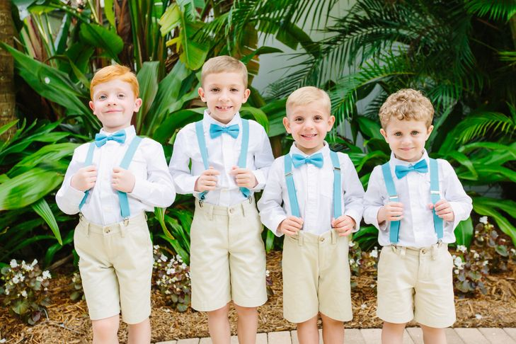 Four Ring Bearers with Aqua Suspenders | | Jet Set Wed https://www.theknot.com/marketplace/jet-set-wed-fort-myers-fl-582874 | KMD Creations https://www.theknot.com/marketplace/kmd-creations-photo-and-film-tampa-fl-549155 |