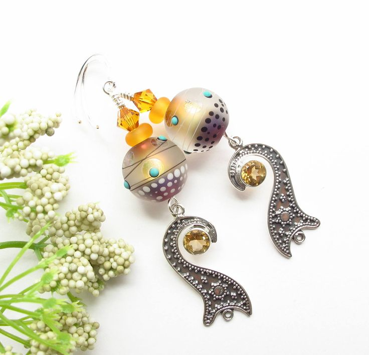 Excited to share the latest addition to my #etsy shop: Lampwork Earrings - Dangle Earrings - Fancy Earrings - Swarovski Earrings - Sterling Silver Earrings - Boho Chic Earrings - Christmas gift http://etsy.me/2CZhk10 #jewelry #earrings #yellow #boho