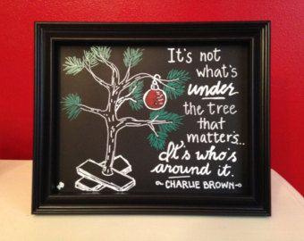 Hand Drawn Chalkboard Charlie Brown Christmas Sign