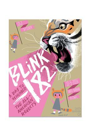 - Official Blink-182 event poster - Artwork By: Amanda Visell - Event Date: October 5th, 2016 - Santa Barbara, CA USA - Support Band: A Day to Remember - Support Band: All American Rejects - Support B