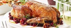 Slow-cooked duck with cherry sauce