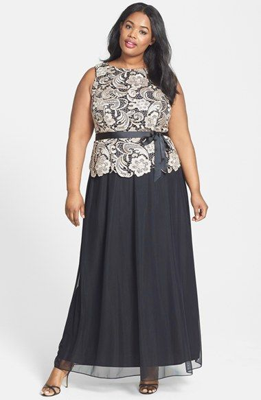 Alex Evenings Ribbon Tie Lace Bodice Long Dress (Plus Size) available at #Nordstrom