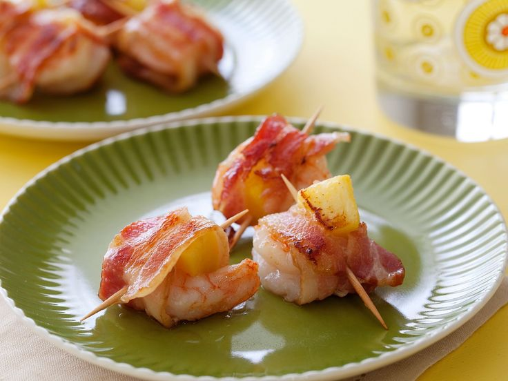 Bacon Wrapped Pineapple Shrimp : Serve this sweet and savory appetizer at any holiday or get-together.