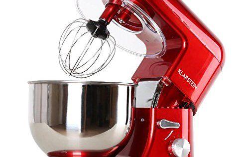 Klarstein Bella Rossa TK2 robot de cuisine multifonction avec bol en inox de 5L (accessoires fouet, pétrin, crochet, 6 vitesses, 1200W) –…