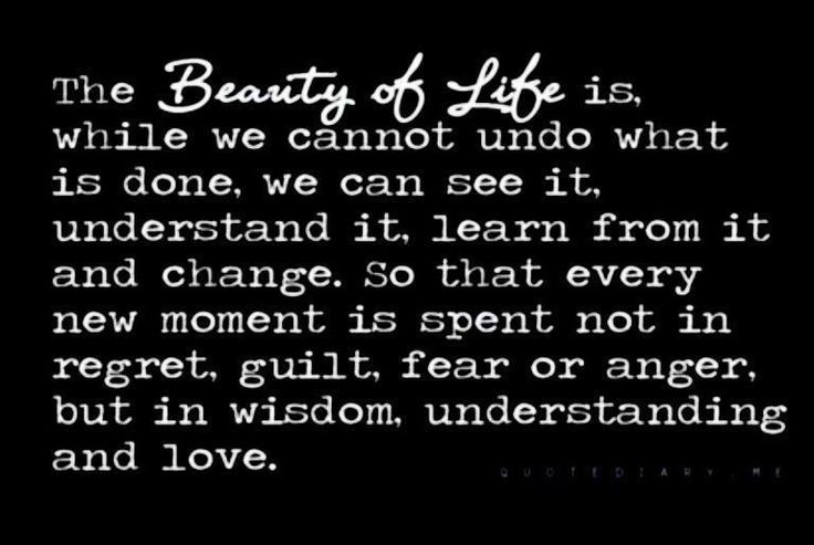 The beauty of life is. While we cannot undo what is done, we can see it, understand it, learn from it and change. So that every new moment is spent not in regret, guilt, fear or anger, but in wisdom, understanding and love. | Share Inspire Quotes - Inspiring Quotes | Love Quotes | Funny Quotes | Quotes about Life