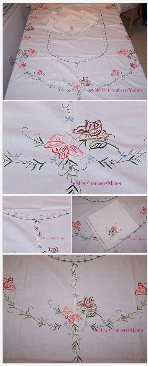 #Embroidered #Roses Oval #Tablecloth Set with 8 #Napkins #Vintage #Linen #Gift #Rose http://cranberry-manor.com/embroidered-roses-oval-tablecloth-set-with-8-napkins-vintage-linen-gift/