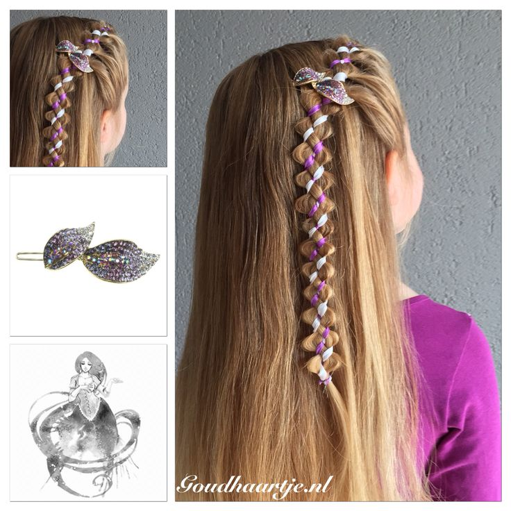 Four strand irregular ribbon accent loony braid with a beautiful purple hairclip from Goudhaartje.nl    #braid #halfup #halfupdo #hairstyle #hair #hairclip #ribbon #ribbonbraid #loonybraid #hairaccessories #haar #vlecht #haarstijl #haarclip #haaraccessoires #lint #haarlint #goudhaartje #beautifulhairstyle #longhair