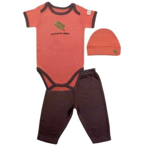 Hudson Baby Organic Touched By Nature Neutral Designs Set, Coral-Leaf, 3-