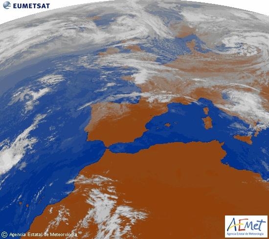Imagen de la zona de Europa y Norte de África del canal infrarrojo del satélite Meteosat-9, procesada para darle color.martes, 09 octubre 2012 a las 15:00