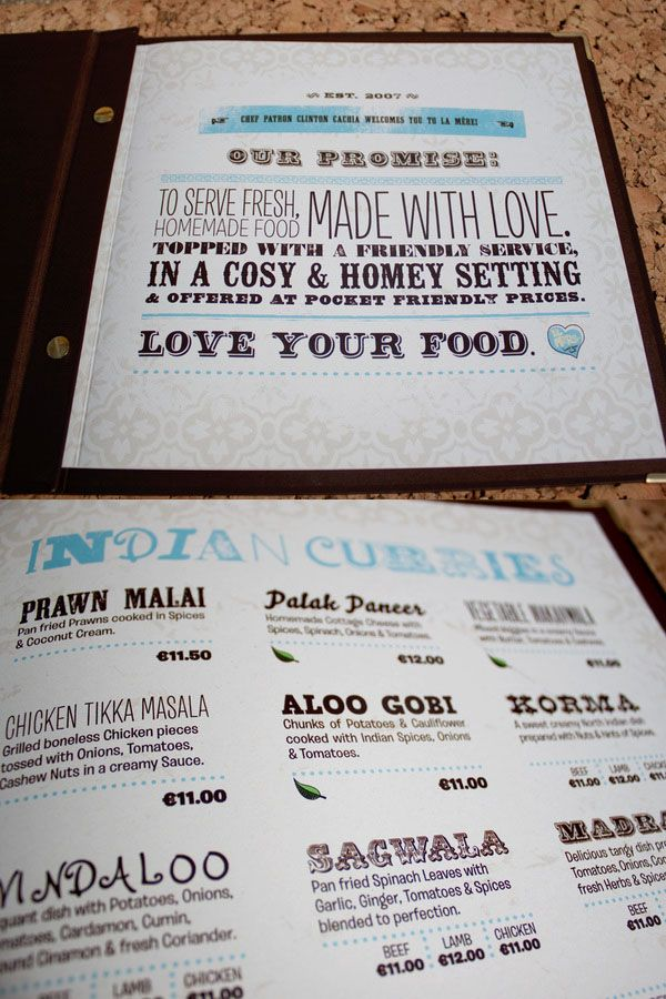 Best Menu Design Ideas Images On   Restaurant Menu