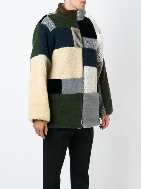 patchwork fleece coat