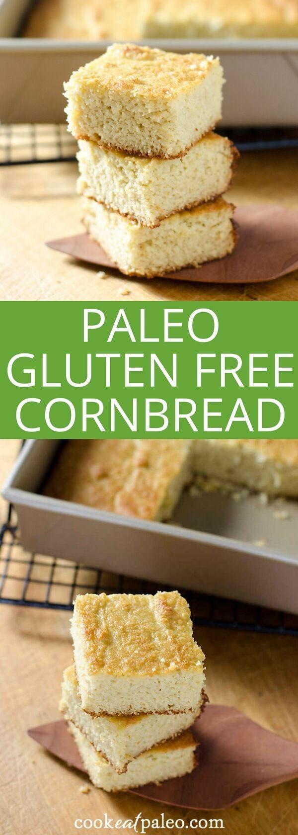 Paleo Gluten Free Cornbread Recipe - make this easy gluten-free cornbread - it's paleo, grain-free, and refined sugar-free.   Cook Eat Paleo via /cookeatpaleo/