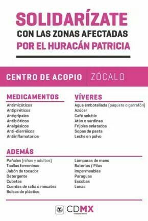 El Huracán Patricia es el más poderoso que se haya registrado en el mundo y yá devastó las costas mexicanas. Centro de Acopio:  #HuracanPatricia#Ayuda#Help#Mexico#Vallarta#Jalisco#Colima#Hurricane#nhc#Acopio#CDMX#zocalo#Solidaridad#Patricia