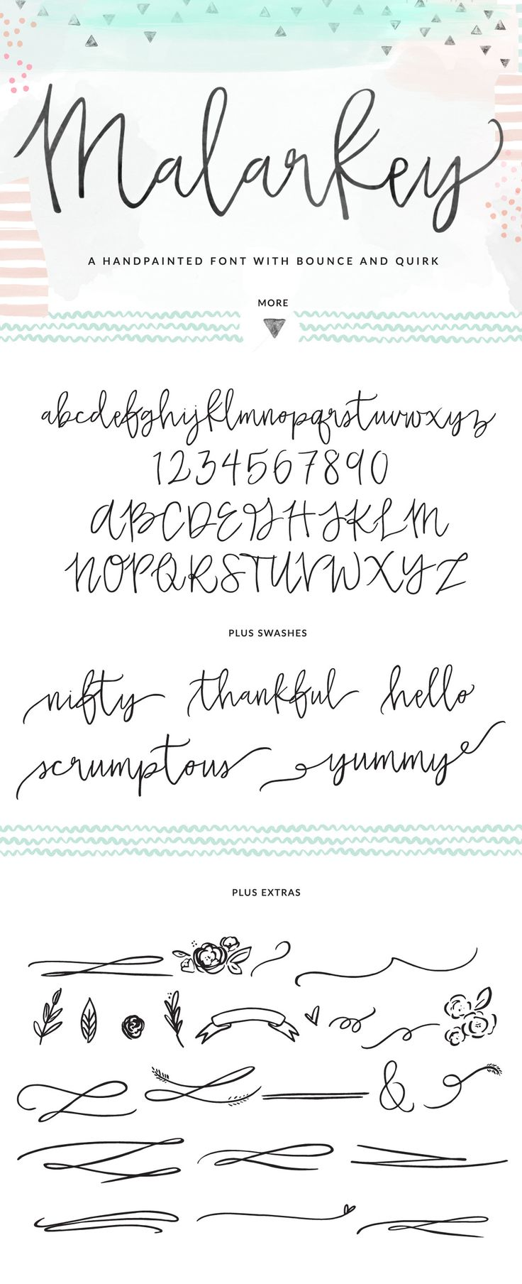 Meet Malarkey, the latest Angie Makes font. Malarkey is a hand brushed, modern calligraphy font with tons of swashes + extras.