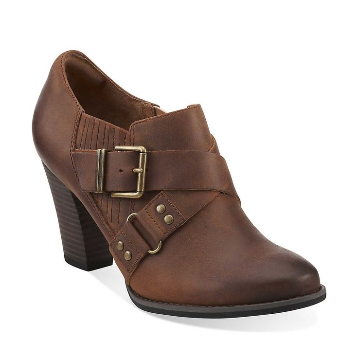 Womens Leather Shoes Low Heel Brown Spring Step