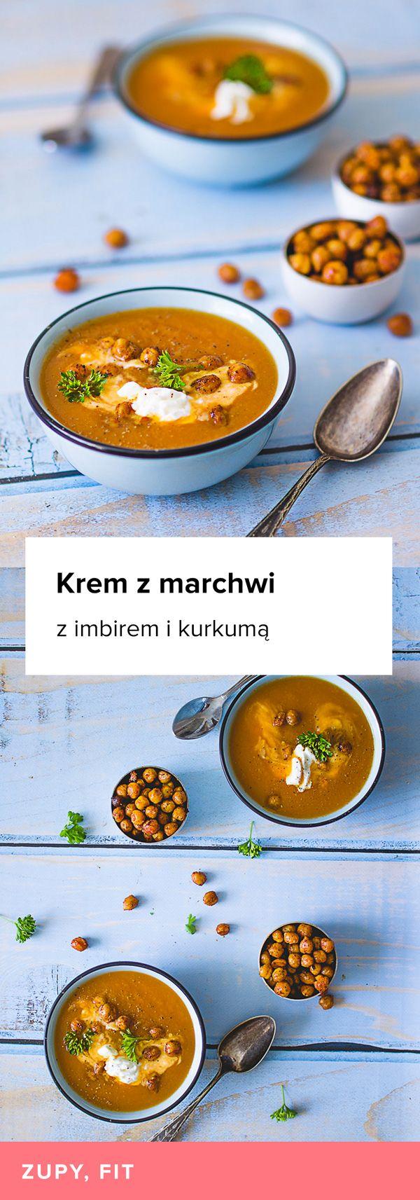 Przepis na Krem z marchwi z imbirem i kurkumą. Pyszna, rozgrzewająca zupa krem z marchwi z dodatkiem imbiru i kurkumy. Serwowana z prażoną ciecierzycą i odrobiną jogurtu naturalnego.