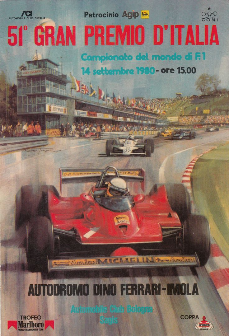 the grand prix of italy program 1980 autodromo classico pinterest grand prix the o 39 jays. Black Bedroom Furniture Sets. Home Design Ideas