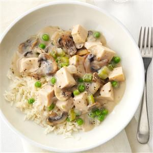 Turkey a la King with Rice Recipe -I like to make this dish with our leftover turkey. It's a nice change from casseroles and so simple. Serve over rice, noodles, biscuits or toast. —Pat Lemke, Brandon, Wisconsin
