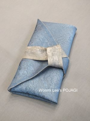 """Fukusa (wrapper with tie straps)"""" in reversible blue and silver, with colors on tie also reversible. Nice. By Wonmi Lee"""