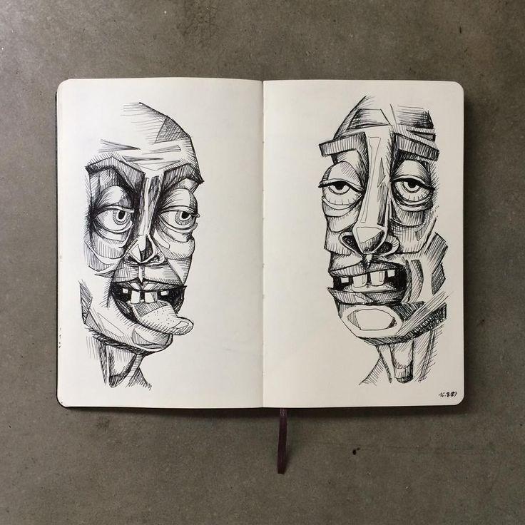 "Gefällt 88 Mal, 5 Kommentare - Janina Müller (@janinacarlottaeleonora) auf Instagram: ""Cheeky and bored #sketchbook #sketch #sketching #drawing #draw #faces #fineliner #black #instaart…"""