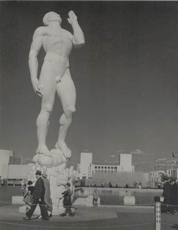 NY Fair, 1939: 'Freedom of Speech,' one of the Four Freedoms: speech, religion, press, and assembly. The building behind and to the right of the Freedom statue is the United States building.