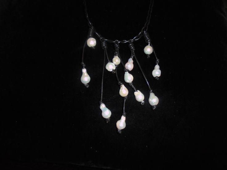 boho necklace.white barogue pearls on leather.